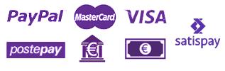 Metodi di pagamento: Carte di credito con Paypal, Bonifico bancario, Contanti, Ricarica Postepay, Satispay